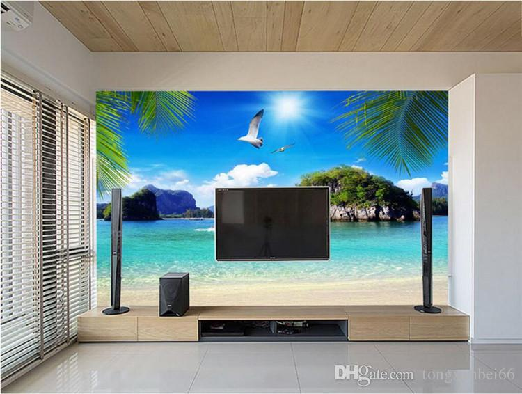 3D Straw Non-woven Custom Mural Wallpaper Roll Stereoscopic Nature Blue Ocean Seascape Beach Photo Wall Cover TV Sofa Backdrop