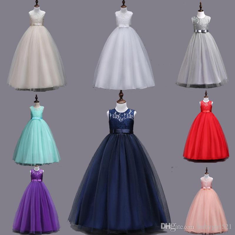 932f97e90bd9 Elegant Lace Tulle Flower Girl Dresses Sleeveless Long Bridesmaid ...