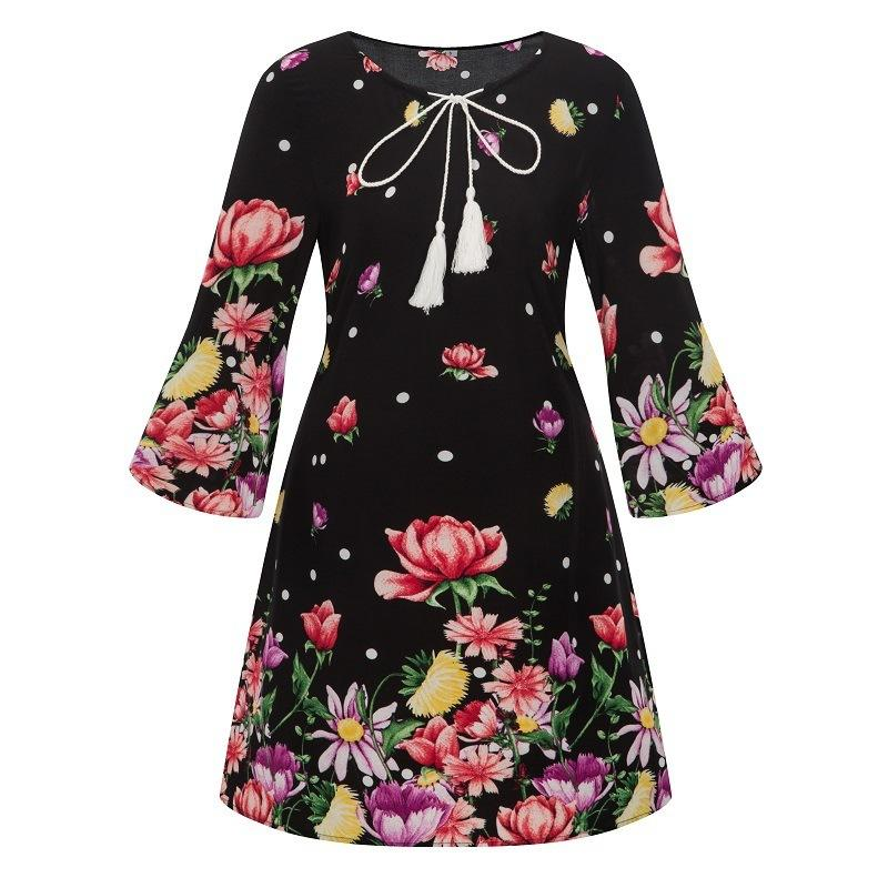 2018 Autumn New Pattern Suit-dress Nation Wind Printing Round Neck Chalaza Dress