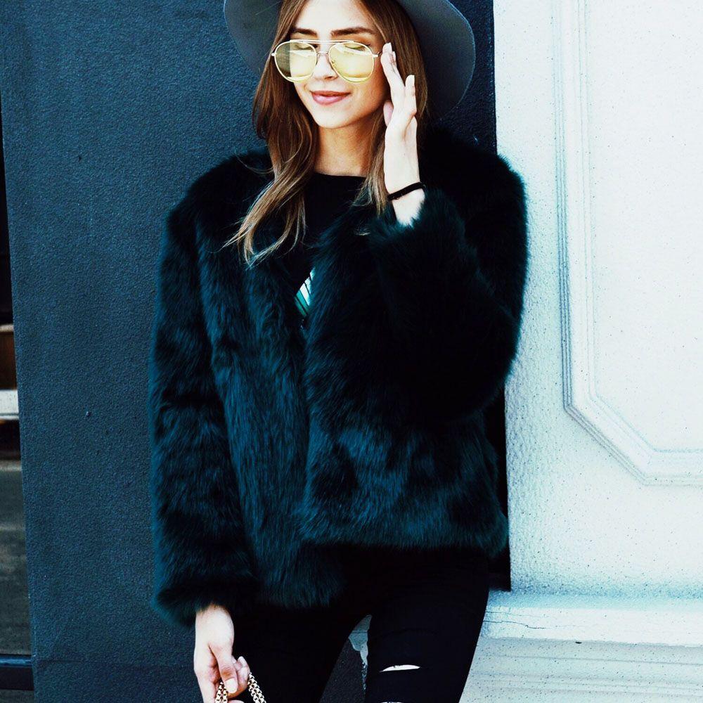 Warm Winter Faux Fox Fur Jackets Women s Thick Fur Coats Female Outwear  Tops Plus Size S-3XL WDC1406 Faux Fur Cheap Faux Fur Warm Winter Faux Fox  Fur ... 1e955d8c0b7c
