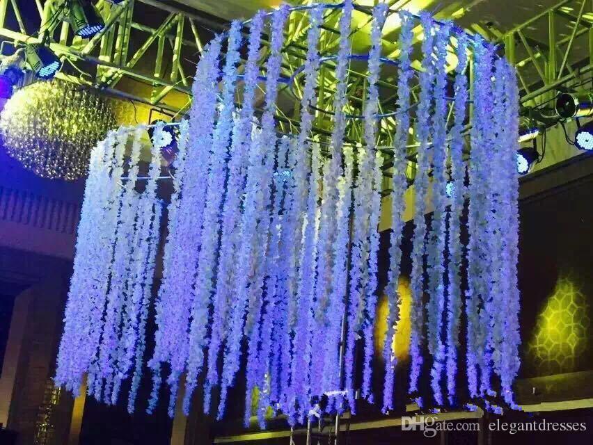 2021 Romantische Seide Künstliche Blumen Hochzeitsfeier Simulation Wisteria Rebe Lange Pflanze Home Zimmer Büro Garten Bogen Dekoration Blumen