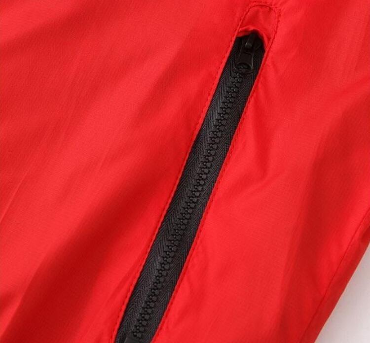 Мужчины Женщины Спорт Ветровка Куртки Цвета Лоскутное Контракт Водонепроницаемая Куртка Молнии С Капюшоном Пальто