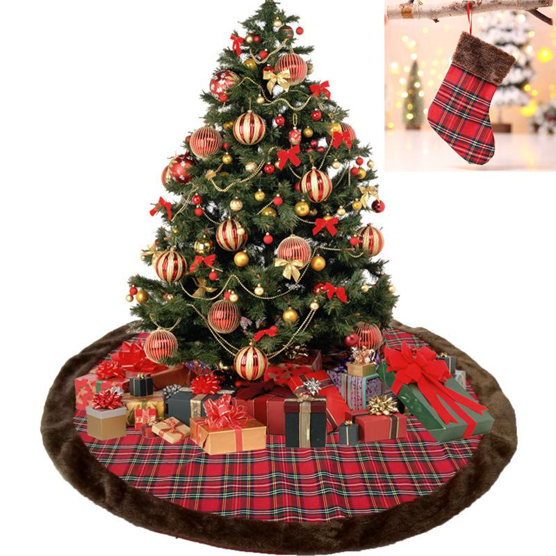 110cm plaid christmas tree skirts decoration flannel cloth thicken xmas festival party supplies check pattern home decoration nna864 xmas ornament xmas