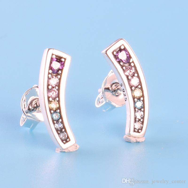 f5ccda7d5e2aa 925 Sterling Silver Colors CZ diamond Stud Earring Original box for Pandora  Rainbow Earrings Women Luxury Jewelry