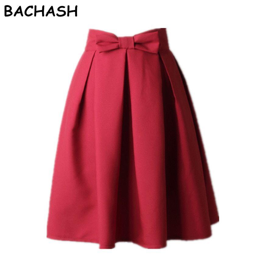 920d805dcec 2019 Wholesale BACHASH Elegant Women Skirt High Waist Pleated Knee Length  Skirt Vintage A Line Big Bow Red Black Side Zipper Skater Skirts Red From  ...