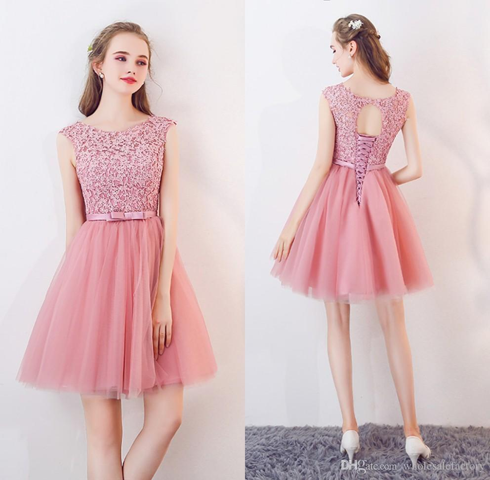 b51a6e8b61a45 2019 Pink Tulle A Line Knee Length Homecoming Dresses Lace Applique Top Bow  Sash Short Prom Party Cocktail Dresses With Lace Up Back CPS1125 Dresses  Sale ...