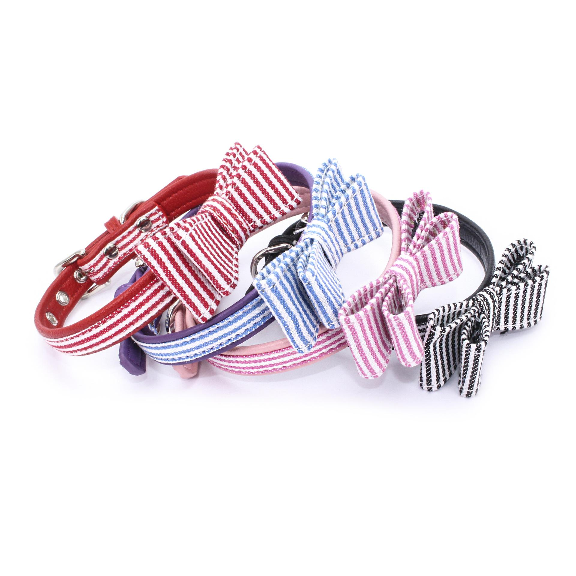 2018 Hot Sale Pet Dog Collars Superfiber Bow Tie Collars Adjustable Length Collars