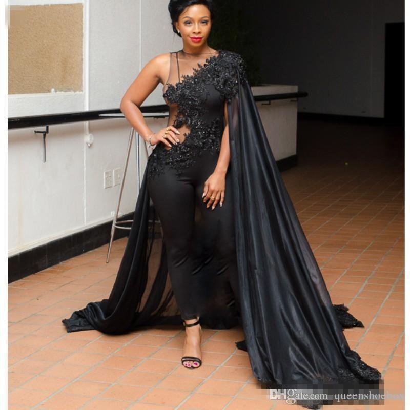 2018 Black Jewel One Shoulder Lace Evening Dresses Cape Jacket/Wrap Style Appliques Beads Sheath Sleeveless Saudi Arabic Formal Dresses