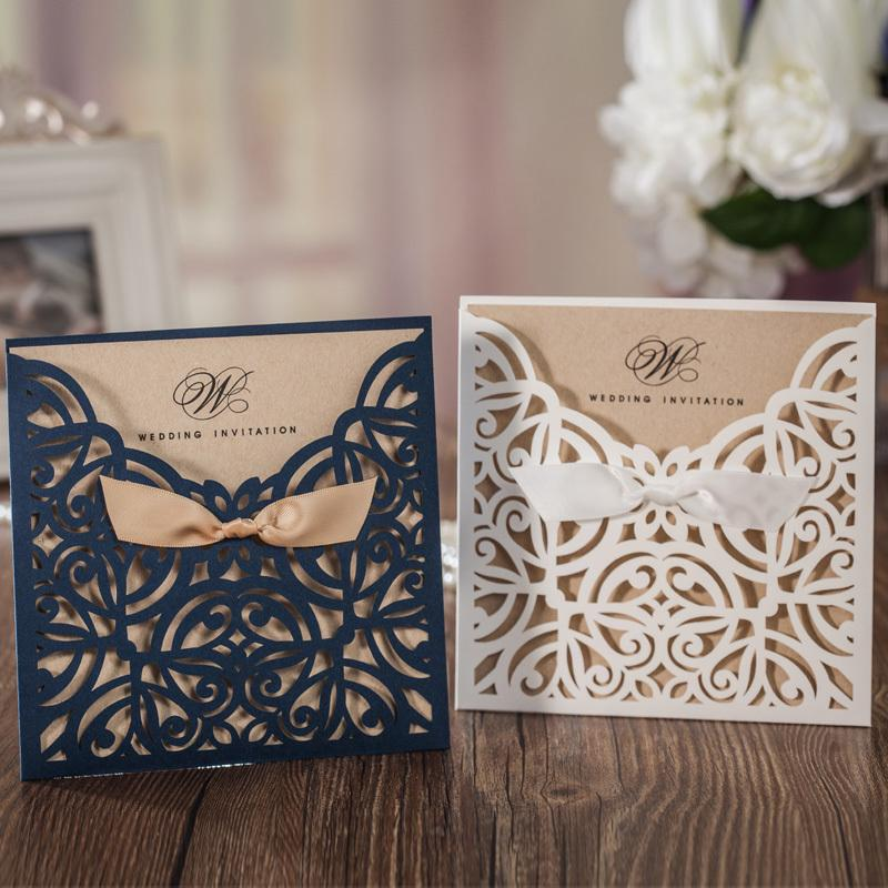 2017 Royal Blue White Laser Cut Wedding Invitations Cards Evening ...