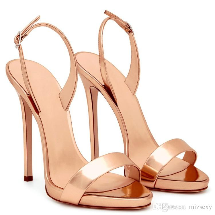 d397ac1c230f 2018 Fashion Shoes Women Sandals Metallic Gold Ankle One Strap Sandals  Stiletto Heel Patent Leather High Heels Feminino Party Shoes Sandalia Strappy  Sandals ...