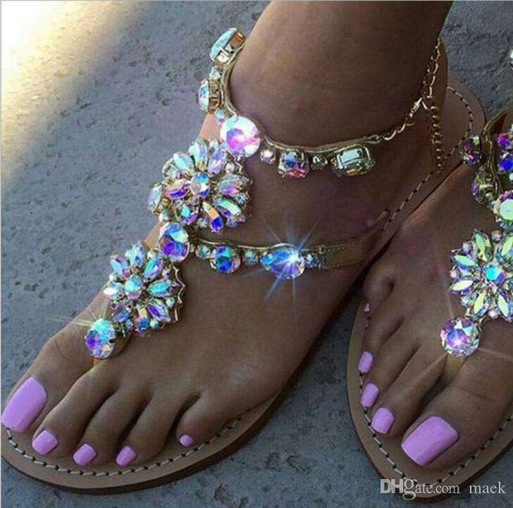 3cd60d1bacda53 2018 Woman Sandals Fashion Beach Flip Flops Rhinestones Chains Thong  Gladiator Flat Sandals Crystal Chaussure Plus Size 34 46 Summer Shoes  Sandals For Men ...