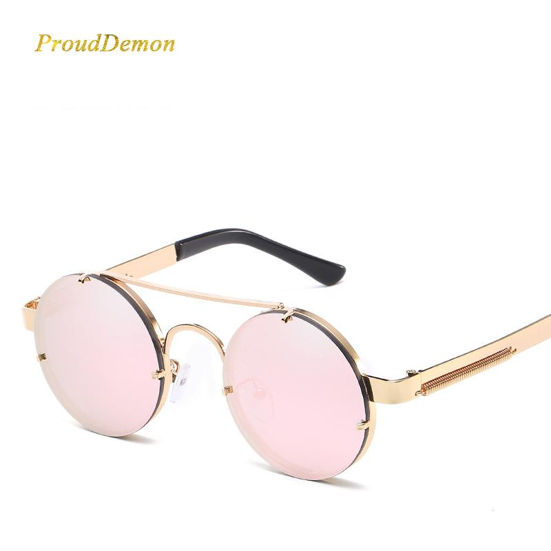 0fb179172681b Prouddemon New Retro Round Steampunk Sunglasses Women Luxury Popular Metal  Spring Sun Glasses For Men Big Mirror Lens Oculos Prouddemon New Retro  Online ...