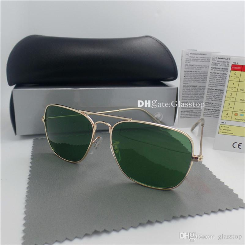 High Quality Men Women G15 Glass Lens Sunglasses UV400 Vintage Sun Glasses Rectangle Brand Designer Square Eyewear Classic Pilot With Box