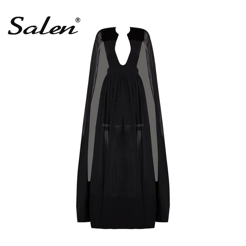 Salen 2017 Spring Celebrity Runway Lady Playsuit Black V-Neck Long Cape Batwing Sleeve Rompers Women Jumpsuit Sexy Bodysuits