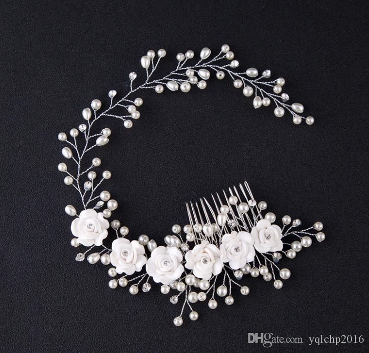 Невеста, жемчужный цветок ручной работы, фотостудия волос, макияж невесты, свадебные аксессуары, повязка на голову.