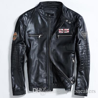Chaqueta de cuero delgada para hombre abrigos de piel de oveja hombre joven Harley traje de moto cuello alto abrigos cortos