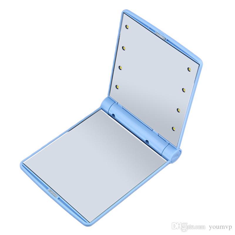 Espejo LED de maquillaje cosmético 8 LED lámparas luces plegable espejo compacto de bolsillo portátil compacto Espejos J1039