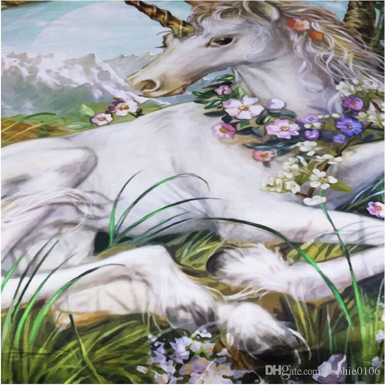 3D Unicorn Boyama Yatak Takımları Ikiz Kral Yatak Nevresim Kapakları Avrupa Tarzı Yatak Nevresim Çarşaf Yastık Shams Kapak PXF 002