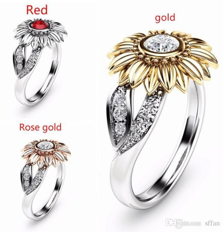 CZ Anel De Pedra Jóias Bague Femme Cor Prata Bonito Girassol De Ouro Anéis De Casamento De Cristal para As Mulheres Presente