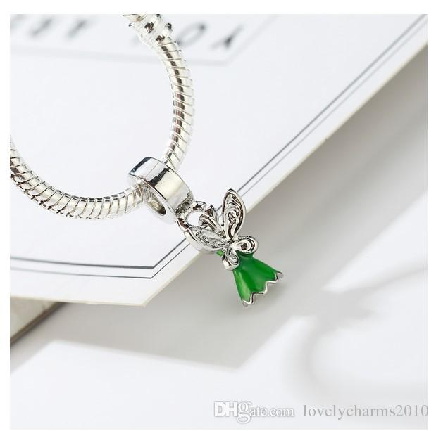Fits Pandora Bracelets Flower Fairy Pendant Silver Charms Bead Dangle Charm Beads For Wholesale Diy European Sterling Necklace Jewelry