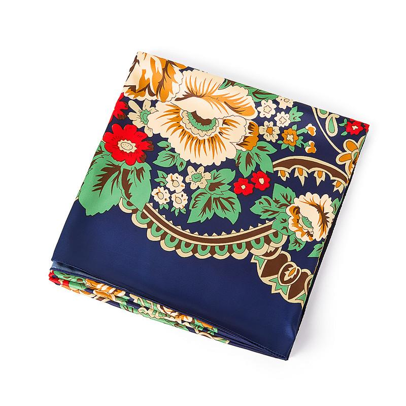 130x130cm New Luxury Brand Bohemia Print Winter Silk Scarf Women Twill Floral Turban Headband Large Hijab Fashion Square Scarf Shawl
