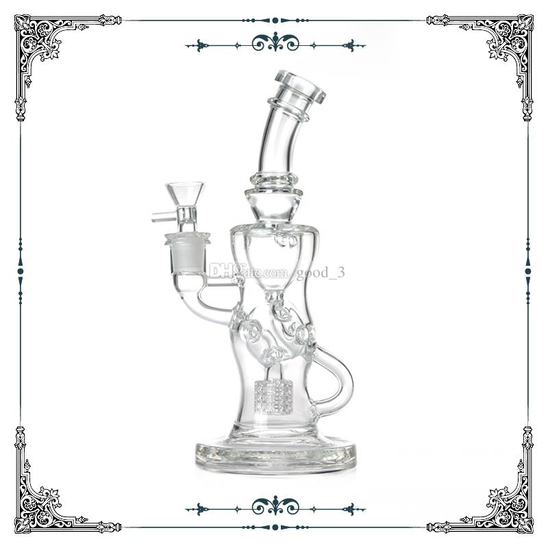 9 inch Klein glass Recycler bong tyre matrix percolator bongs glass water pipes smoking hookah water with hole recycler bong free shipping