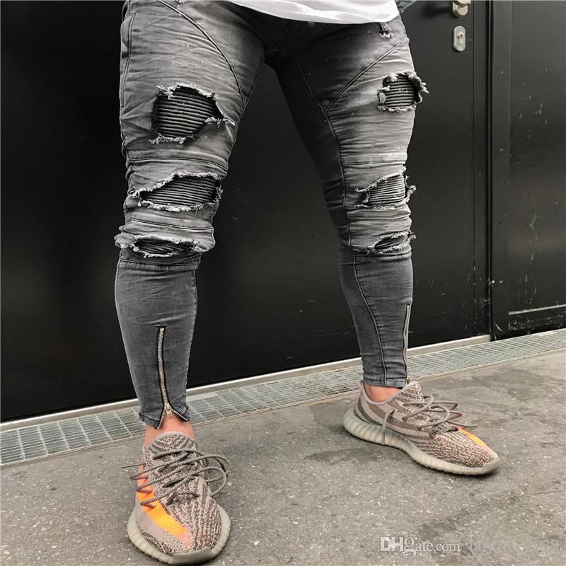 4779b82e8d2ed 2019 2019 High Street Tide Models Men S Motorcycle Jeans Hole Zipper Male  Knee Hole Pants Pants 28 38 From Boy top2029