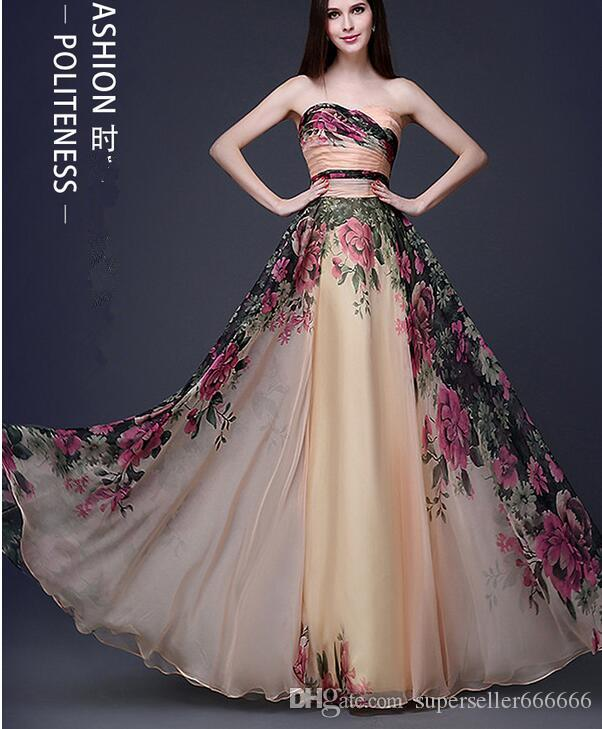 85abc8afbf3 Women Luxury Dress Boutique V Neck Wedding Classic Sexy Beautiful Chiffon  Print Bra Dress Wedding Evening Dress Dance Party Dresses Canada 2019 From  ...