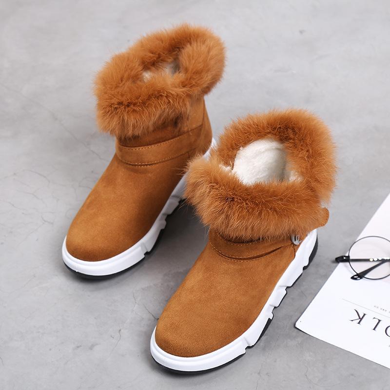 the best attitude ec995 30afd Snow Boots Winter Cotton Boots Women Shoes Warm Plush Flock Camel Fashion  Winter Platform Casual Flat Shoes Comfortable