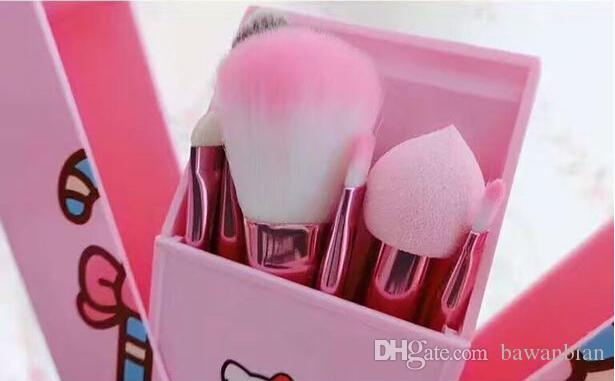 Hello Kitty Makeup Brushes Set + Mirror Case eyeshadow tech blush Brush Kit Pink Make up Toiletry Beauty Appliances