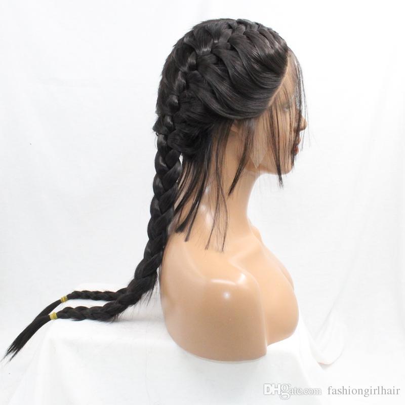 Natural 2 # / negro peluca sintética trenzada con pelucas sintéticas del frente del cordón del pelo del bebé trenzas trenzadas de la caja peluca larga fibra resistente al calor sin cola