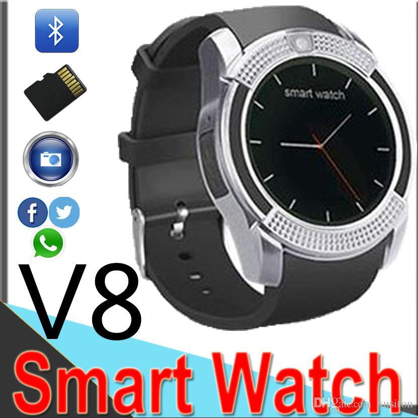 0bab40597a8 Compre V8 Smart Watch Relógio Com Sim Slot Para Cartão Tf Bluetooth  Adequado Para Ios Android Telefone Smart Band Telefone Celular Factory  Outlet V87 De ...