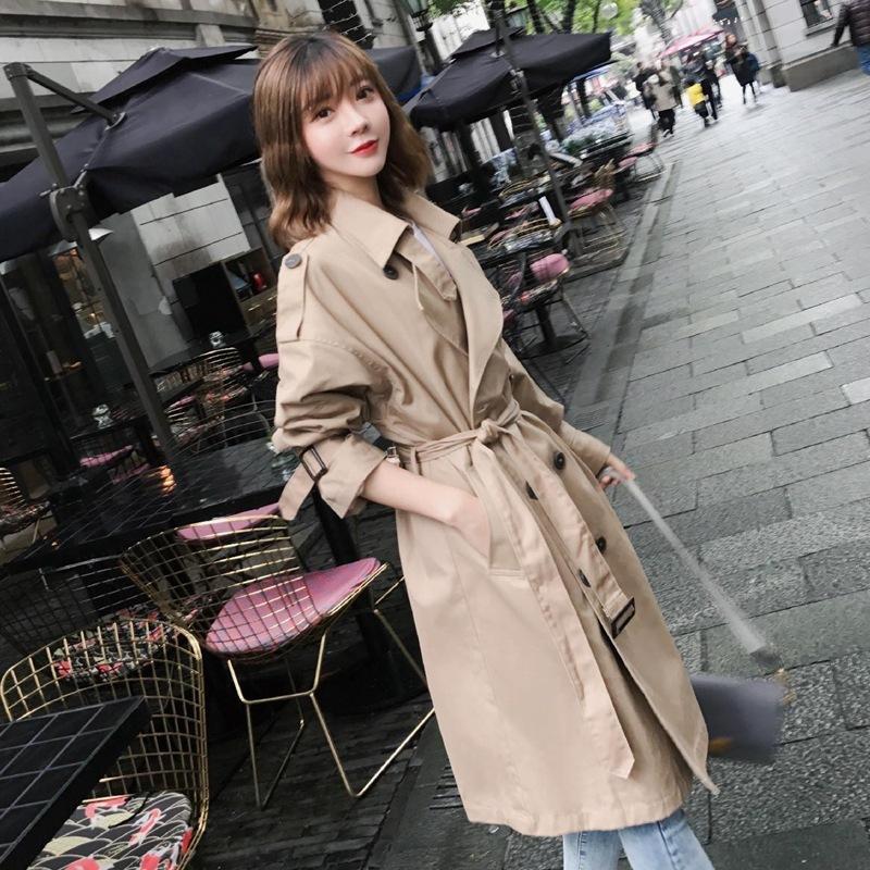 timeless design cd632 25ce8 Zeit koreanische 2018 Herbst Vintage Khaki Windbreaker schicke Mädchen  Overknee lose Mantel weibliche grundlegende Trenchcoat OBERBEKLEIDUNG