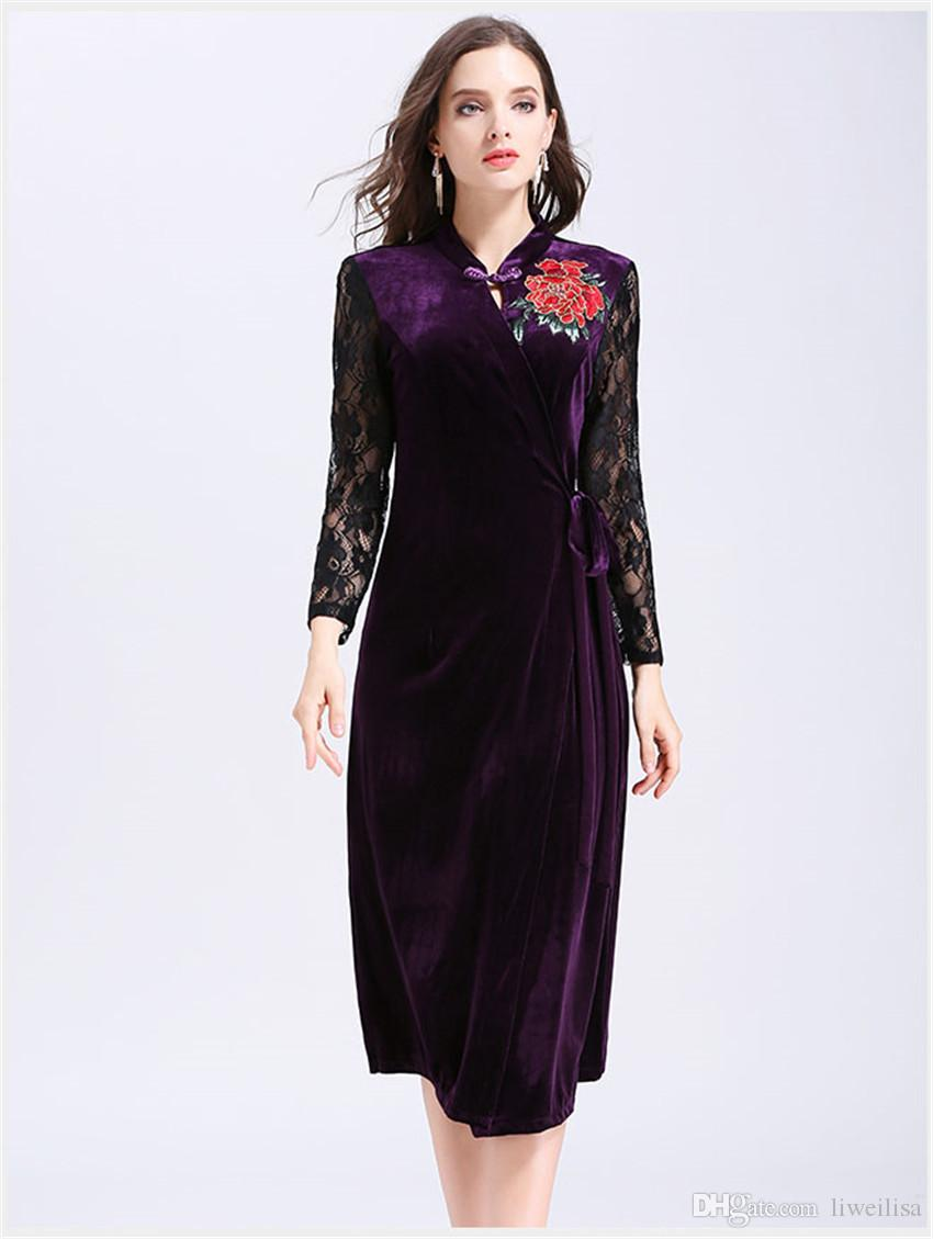 c8fab8e6397 Winter Velvet Dresses Women Long Sleeve Party Dresses 2018 Spring Ladies  Casual Floral Embroidery Vintage Lace Dress Vestidos Embroidery Vintage Lace  Dress ...