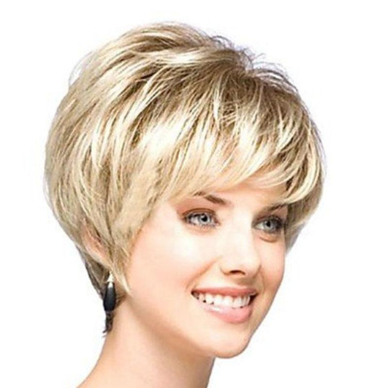 2018hot Sale Beautiful Boy Cut Short Wigs For Women Straight Style  Synthetic Blonde Wig With Bangs Color  Gold Black Wig With Bangs Lace Front  Synthetic ... d2db3353af6d