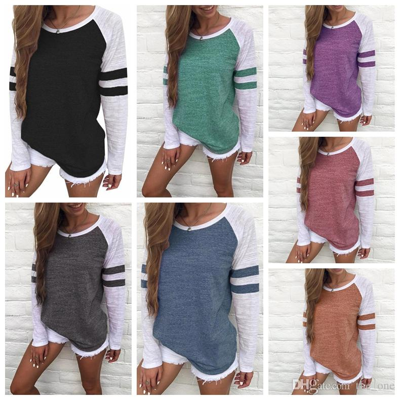 ba8eafce2 2019 Women Striped Splicing Baseball Tshirt Spring Fashion O Neck Long  Sleeve Top Tee All Matched T Shirt Maternity Tops Tee Plus Size 5XL From  The_one, ...