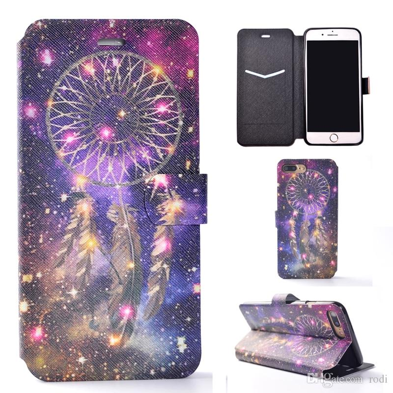 for iphone5 se 6s plus i7 i8plus sony xa c6 e5 Phone Case Shell Soft TPU PU leather painting Embossed Relief Kickstand Card Slot Holder