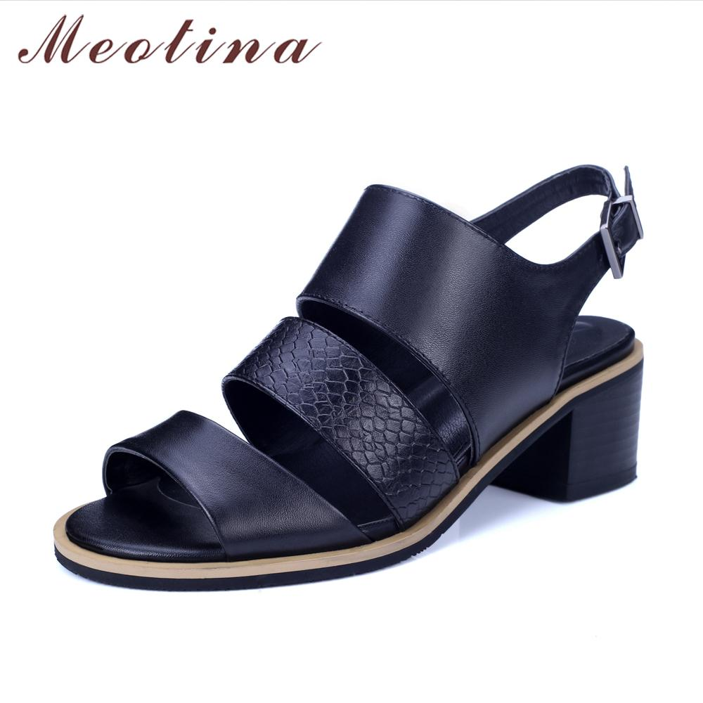 673350bb60a Meotina Women Sandals Genuine Leather Shoes Thick Heel Sandals Open ...