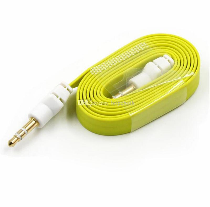 3,5mm große flache nudel stecker auf stecker stereo audio auto aux hilfs kabel kabel blei für iphone 5 6 für samsung mp3 für pc kopfhörer lautsprecher