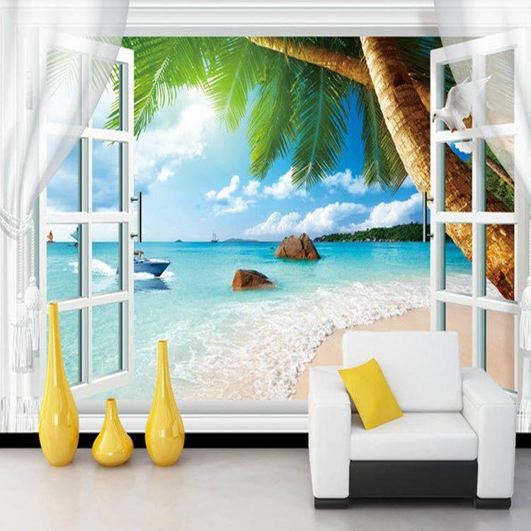 Grosshandel Grosshandels Fototapete 3d Wandbilder Falsches Fenster