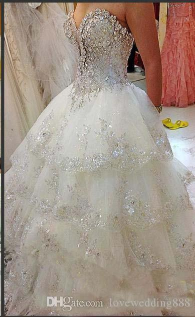 2019 perlas brillantes brillantes vestidos de novia de cristal vestido de bola cariño princesa en capas Bling elegantes vestidos de novia hermosa primavera
