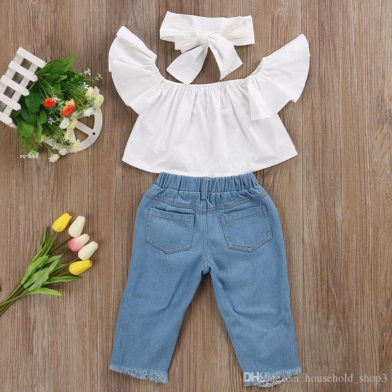 Летний бутик одежды дети костюм из трех частей костюм отверстие джинсы + с плеча топ рубашка + оголовье костюм для малышей дети девочка