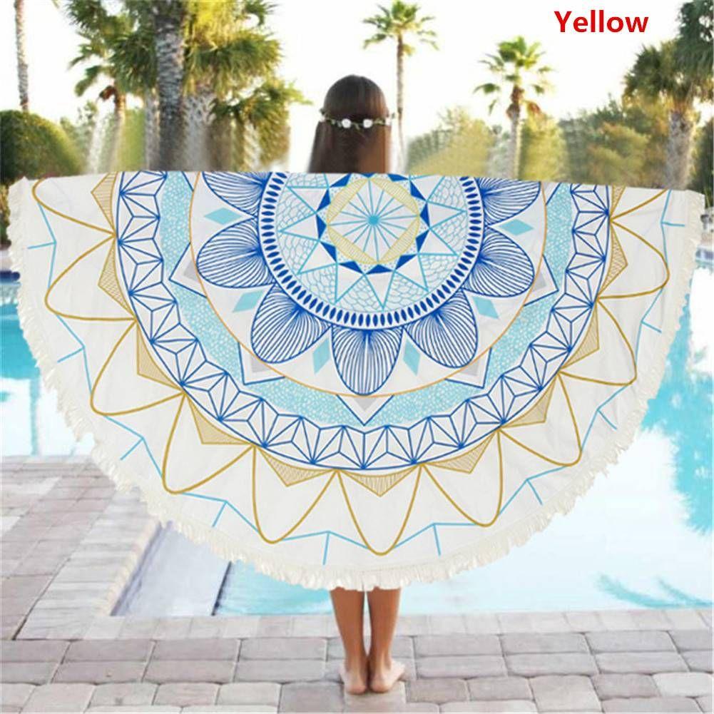 Beach Towel Round Printed Large Tassel Circular Bath Towel Sun Block ...