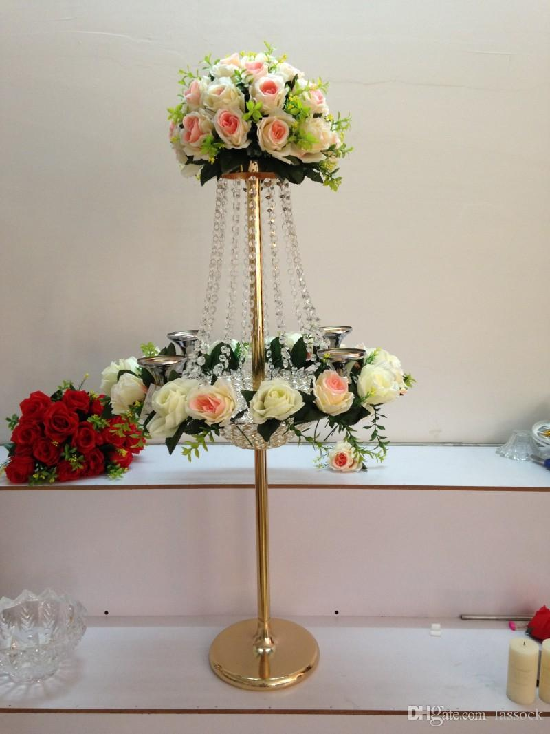 Most Popular Tall Stand Crystal Flower Centerpiece For Decoration