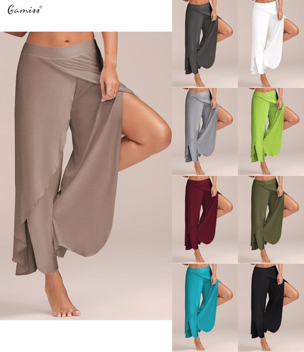 3693dd2cbdf6d 2019 Gamiss Women Pant Sexy High Split Mid Waist Wide Leg Pants Flowy  Female Women Trousers Casual Summer Beach Long Loose Harem Pant Y1891705  From ...