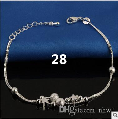 Hot Selling Stamped 925 Sterling Silver Anklets For Womens Simple Beads Silver Chain Anklet Ankle Foot Jewelry