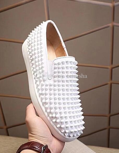 2017 New Designer Fashion Spike Men Women Shoes Fashion Famous Luxury Rivets Casual Flats for Love Sneakers Low Top Leather Shoe
