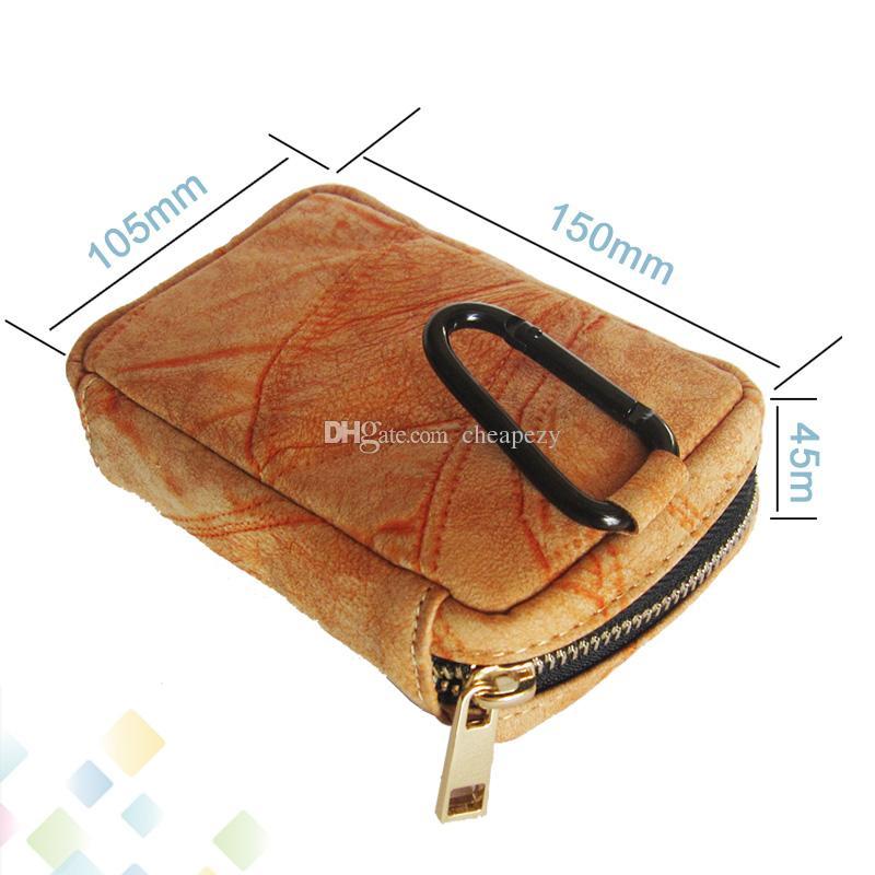 Style Sac Carring Pouch Box Portable En Cuir Carrry Case Bleu Brun Jaune Sac À Main Pocket Vape Holder Pour E Cigarette DHL Gratuit