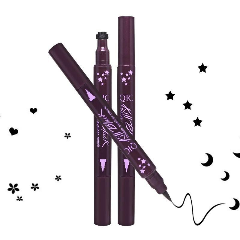 QIC Kill Black DIY Double Eyeliner Stamp Pen Long Lasting Speedy Waterproof Eyes Makeup With Heart Star Moon Or Plum Blossom 4 Styles Make Up Cat Eye