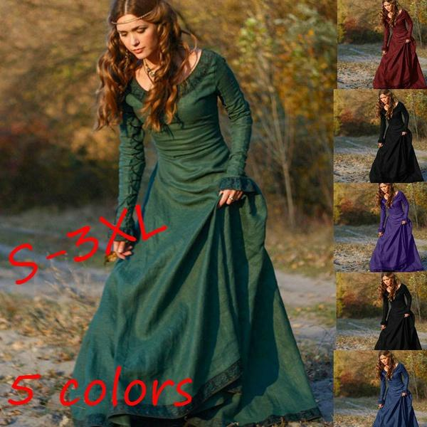 S 3xl Medieval Clothing Linen Dress Autumn Winter Princess ...